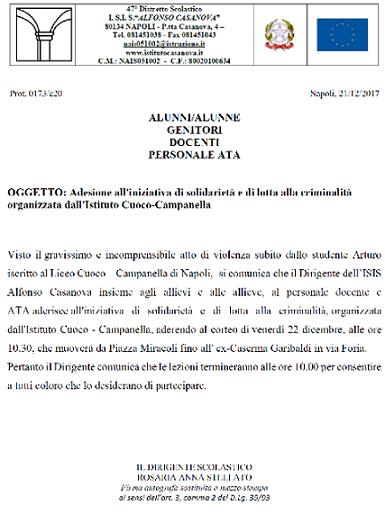 AVVISO  Adesione all'iniziativa di solidarietà e di lotta alla criminalità organizzata dall'Istituto Cuoco-Campanella