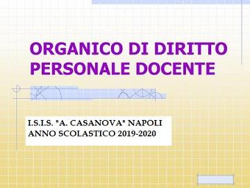 Pubblicazione organico di diritto a.s. 2019-2020